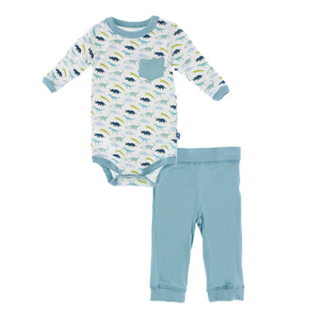 Print Long Sleeve One Piece and Pant Outfit Set in Boy Dino Print
