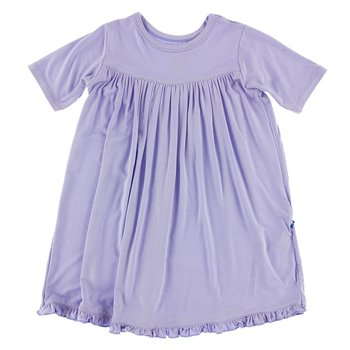 Basic Classic Short Sleeve Swing Dress in Lilac
