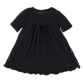Basic Classic Short Sleeve Swing Dress in Midnight