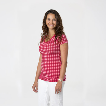Print Short Sleeve One Tee in Flag Red Gingham