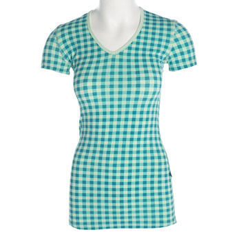 Print Short Sleeve One Tee in Pistachio Gingham