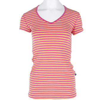 Print Short Sleeve One Tee in Flamingo Brazil Stripe