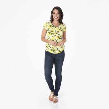 Print Short Sleeve One Tee in Lime Blossom Lemon Tree