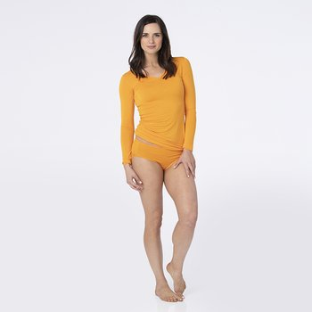 Solid Long Sleeve One Tee in Apricot