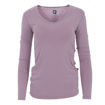 Solid Long Sleeve One Tee in Elderberry
