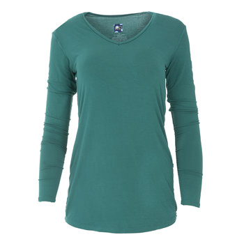 Solid Long Sleeve One Tee in Ivy