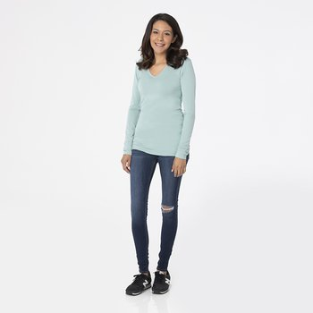Solid Long Sleeve One Tee in Jade