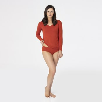 Solid Long Sleeve One Tee in Red Tea