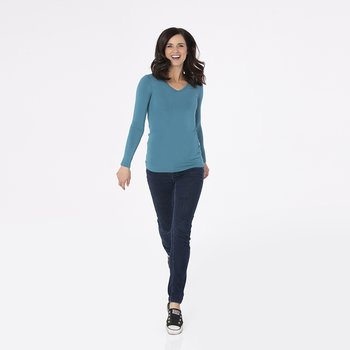 Solid Long Sleeve One Tee in Seagrass
