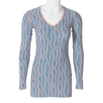 Print Long Sleeve One Tee in Blue Moon Seaweed