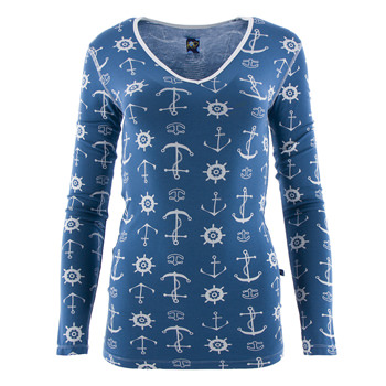 Print Long Sleeve One Tee in Twilight Anchor