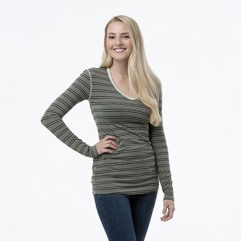 Print Long Sleeve One Tee in Succulent Kenya Stripe