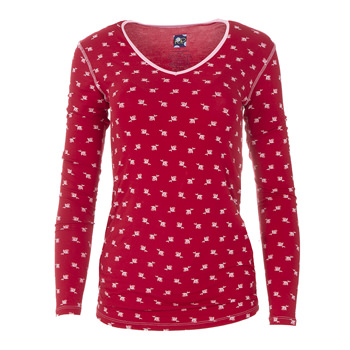 Print Long Sleeve One Tee in Candy Apple Rose Bud