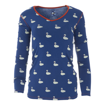 Print Long Sleeve One Tee in Navy Queen's Swans