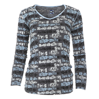 Print Long Sleeve One Tee in Stone London Towns