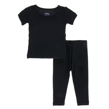 Basic Short Sleeve Pajama Set in Midnight