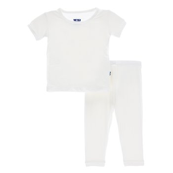 Basic Short Sleeve Pajama Set in Natural