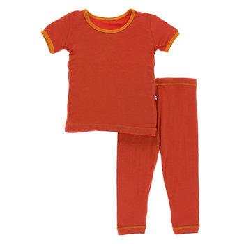 Solid Short Sleeve Pajama Set In Poppy With Sunset Trim
