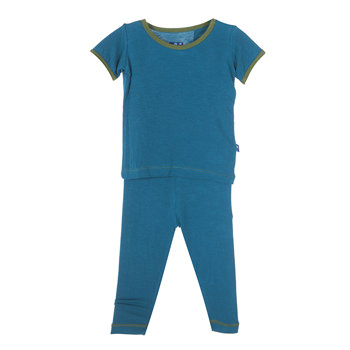 Solid Short Sleeve Pajama Set in Oasis with Moss Trim