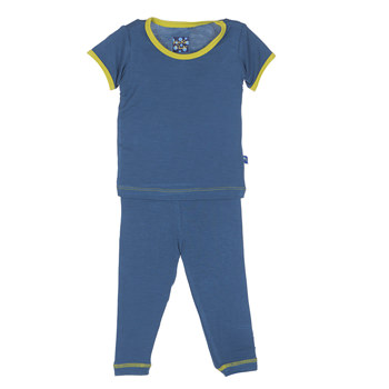 Solid Short Sleeve Pajama Set in Twilight with Citronella Trim