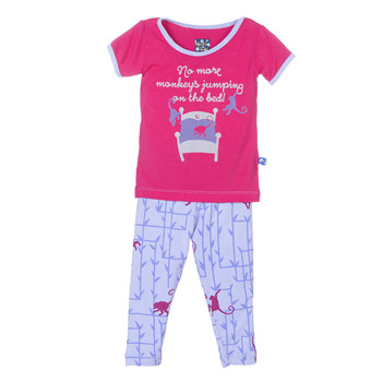 Print Short Sleeve Pajama Set in Lilac Forest Monkey