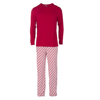 Men's Long Sleeve Pajama Set in Crimson Candy Cane Stripe