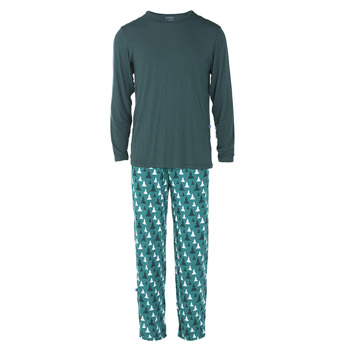 Men's Long Sleeve Pajama Set in Cedar Christmas Trees