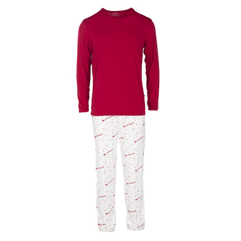 Men's Long Sleeve Pajama Set in Natural Flying Santa