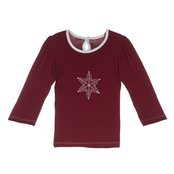 Holiday Long Sleeve Applique Puff Tee in Brick Snowflake