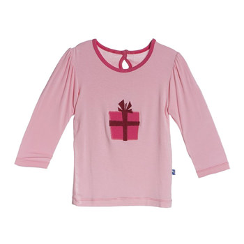 Holiday Long Sleeve Applique Puff Tee in Lotus Present