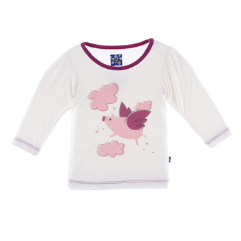 Long Sleeve Piece Print Puff Tee in Natural Flying Pig