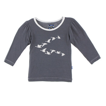 Long Sleeve Piece Print Puff Tee in Stone Flying Geese