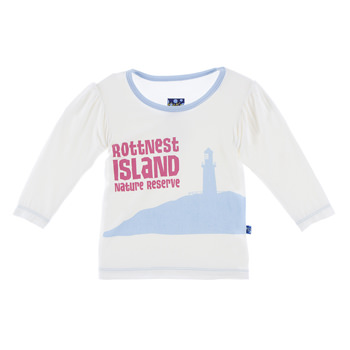 Long Sleeve Print Puff Tee in Natural Rottnest Island Nature Reserve