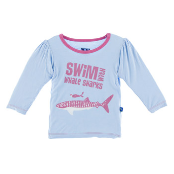 Long Sleeve Print Puff Tee in Pond Swim with Whale Sharks