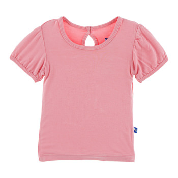 Solid Short Sleeve Puff Tee in Strawberry