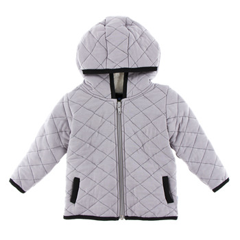 Quilted Jacket with Sherpa-Lined Hood in Feather with Midnight Trim
