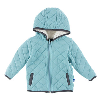 Quilted Jacket with Sherpa-Lined Hood in Glacier with Stone Trim