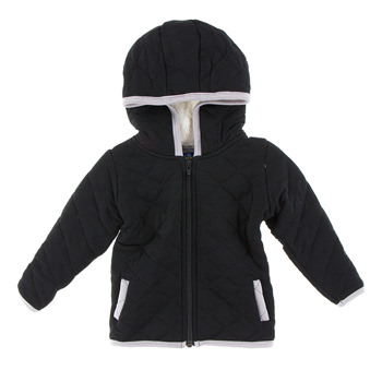 Quilted Jacket with Sherpa-Lined Hood in Midnight with Feather Trim