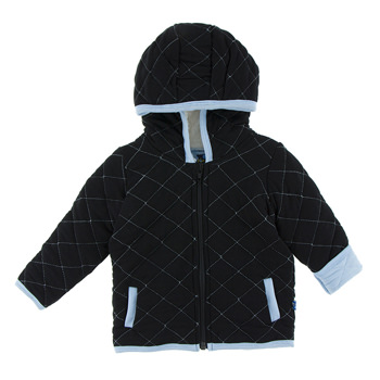 Quilted Jacket with Sherpa-Lined Hood in Midnight with Pond Trim