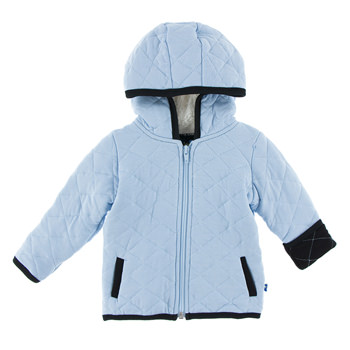 Quilted Jacket with Sherpa-Lined Hood in Pond with Midnight Trim