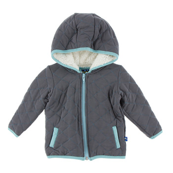 Quilted Jacket with Sherpa-Lined Hood in Stone with Glacier Trim