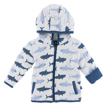 Print Quilted Jacket with Sherpa-Lined Hood in Natural Megalodon with Twilight Trim
