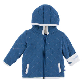 Print Quilted Jacket with Sherpa-Lined Hood in Twilight with Natural Megalodon Trim
