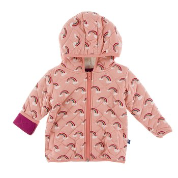 KicKee Pants Print Quilted Jacket with Sherpa-Lined Hood in Dusty Sky Tides with Navy 2T