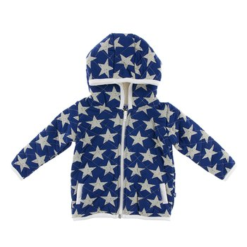 Print Quilted Jacket with Sherpa-Lined Hood in Vintage Stars