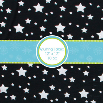 Print Quilting Square Bundle in Silver Stars (10/bundle)