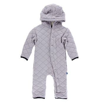 Quilted Hoodie Coverall with Sherpa-Lined Hood in Feather with Midnight Trim