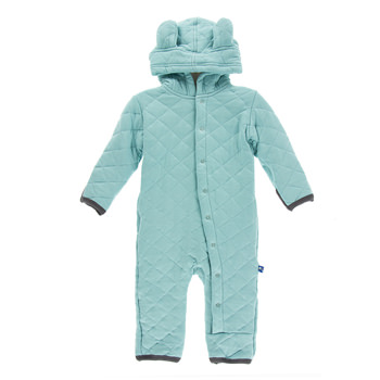 Quilted Hoodie Coverall with Sherpa-Lined Hood in Glacier with Stone Trim