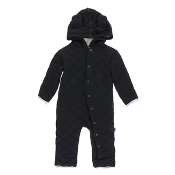 Quilted Hoodie Coverall with Sherpa-Lined Hood in Midnight with Feather Trim