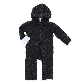 Quilted Hoodie Coverall with Sherpa-Lined Hood in Midnight with Pond Trim